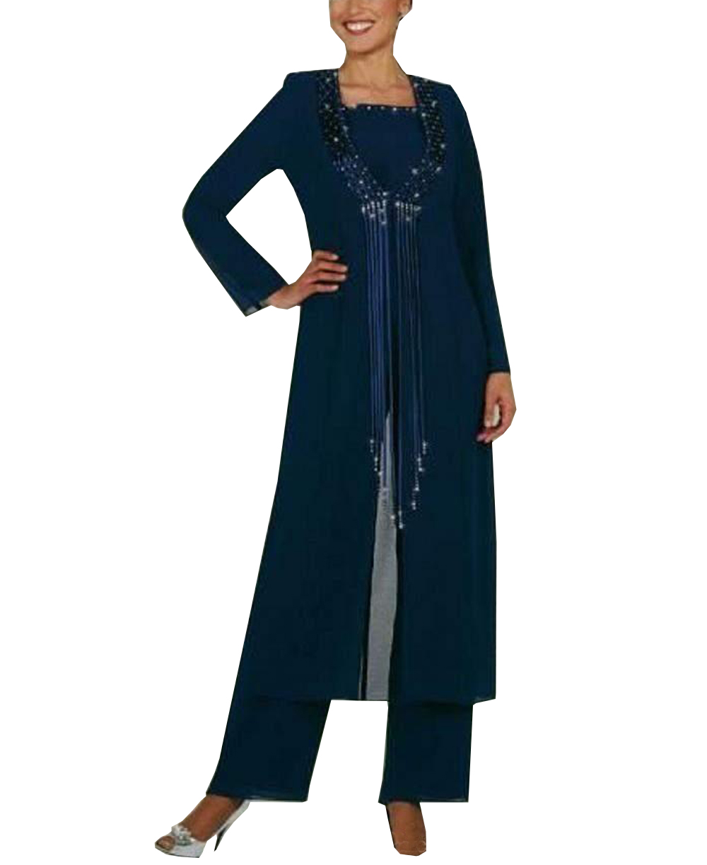 Women 3 Pieces Elegant Beading Tassel Chiffon Mother Of The Bride Dress Pants Suit With Jacket Outfit For Wedding Groom 2019