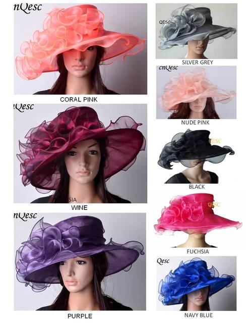 a5222b41a US $26.0 |High quality Chapeau Crystal Organza Hat for Kentucky  Derby,Church,Wedding.black,fuchsia,purple,silver,wine,yellow,royal,coral-in  Fedoras ...