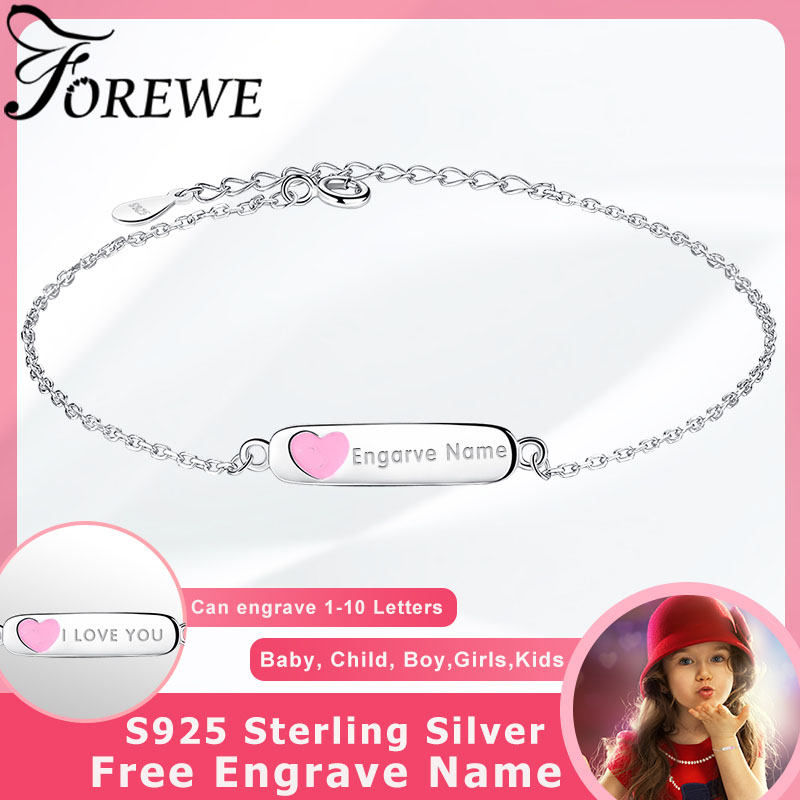 3867c6722b92 Gratis personalizado grabado nombre brazalete de la joyería del esmalte de  la plata esterlina 925 corazón pulseras y brazaletes para los niños