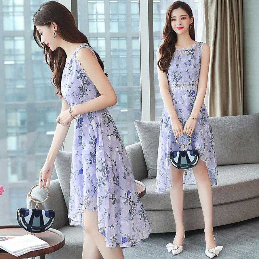 2019 Korean Vintage Plus Size Boho Midi Dresses Summer New Floral Chiffon Sexy Sundress Elegant Women Off Shoulder Party Vestido