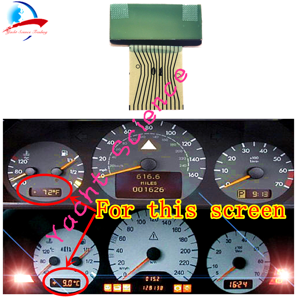 MERCEDES SPEEDOMETER CLUSTER RIGHT GLASS LCD for GEAR SELECTOR W208 W210 W202