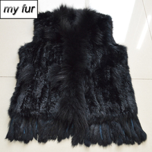 2019 Lady Winter Genuine Real Rabbit Fur Vest Women Knitted Real Rabbit Fur Gilet With Raccoon Fur Collar Rabbit Fur Waistcoat cheap Real Fur Double-faced Fur REGULAR Striped Sleeveless My fur-032330 Covered Button Slim doakxol With Raccoon Dog Fur Collar