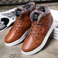 2017 Dos Homens de Super Quentes de Inverno Ankle Boots De Couro Pu Homens Outono Neve Botas Lazer Martin Botas Outono Sapatos À Prova D' Água