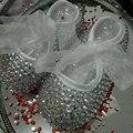 Frete grátis prata rhinestone Cristal sapatas dos miúdos da Criança Do Bebê Da Menina handmade Bling diamante talão sapatos macios personalizar qualquer nome