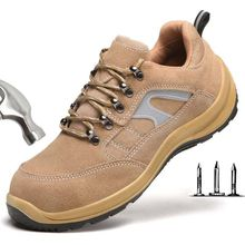 2019 Mens Suede Cowhide Steel Toe Cap Safety Shoes Outdoor Breathable Labor Insurance Work Boots Anti-piercing Protection