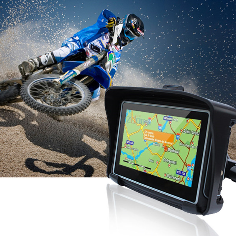 New Version Bracket 4.3 Inch IPX7 Waterproof Car/Moto Bluetooth GPS Navigation With 8GB Flash for Motorcycle Motorbike+Free Maps image