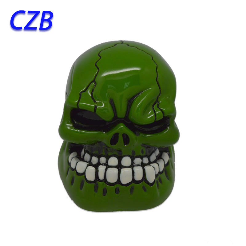 Hot 2016 Universal Manual Gear Stick Shift Shifter Lever Knob Wicked Carved Green Skull pomo marches fastshipping