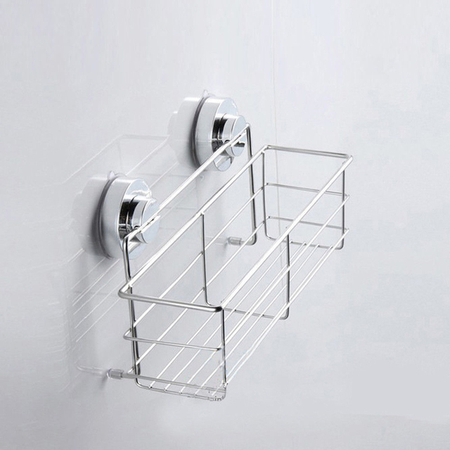 Stainless Steel Shelves Bathroom Kitchen Organizer Shower Wall Basket Shelf  With Dual Strong Suction Cups Bathroom
