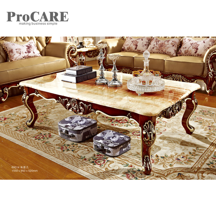 living room furniture nice design marble top wooden tea center table - 6001