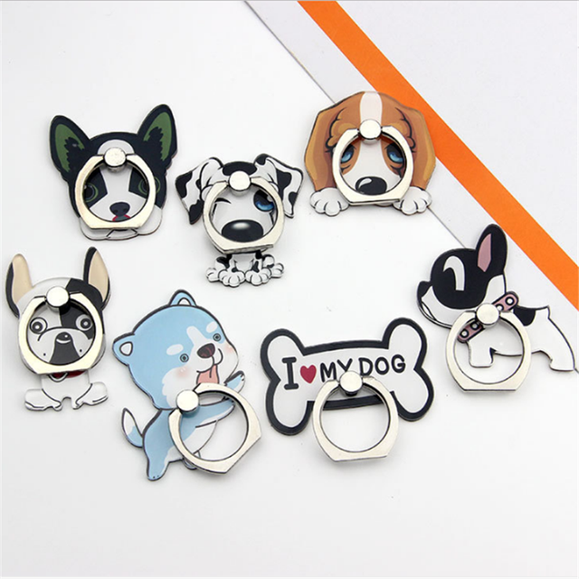 UVR Cute Dog Bones Bulldog Mobile Phone Stand Holder Finger Ring Mobile Smartphone Holder Stand For iPhone Huawei All Phone