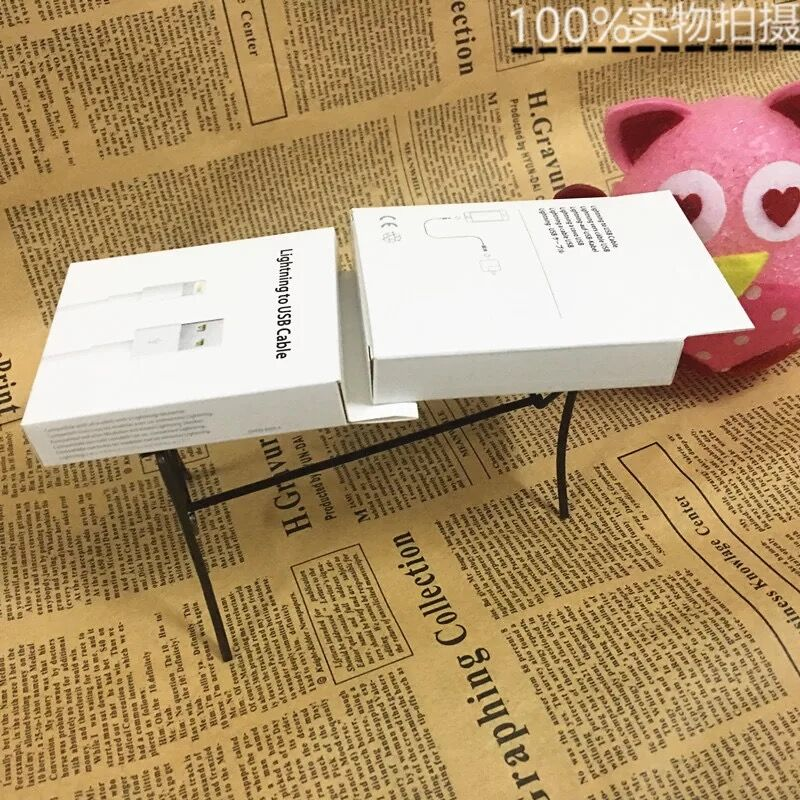 white Retail paper Box for 8 Pin IOS 10.X USB Cable Cord box for iPhone 7 6 6s 5 5S iPod Touch 5th charger line 2000pcs/lot
