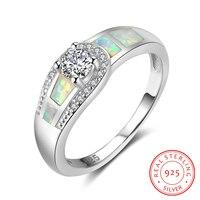 925 Ayar Gümüş Beyaz Opal Yuvarlak Kübik Zirkonya Yüzükler Kadınlar Düğün Takı Için Moda Hediye Onu (RI102980)