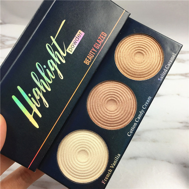 beauty glazed Brand Manizer Bronze Balm Palette highlighter shimmer Eyeshadow Powder Mary Betty Cindy lou 3 IN 1 Palette