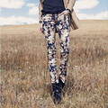 2016 Spring Fashion Women's High quality Elastic Pencil Pants Floral Cotton Casual Flower Print Hot Skinny Straight Trousers.
