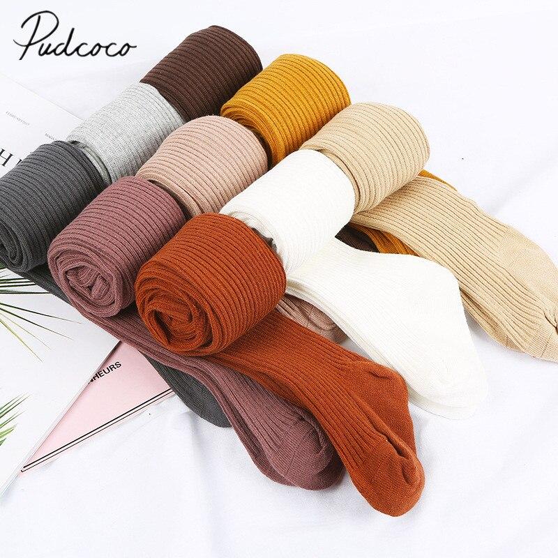 Medias de otoño invierno 2019 para bebé, medias acanaladas de algodón para niña bebé, pantis cálidos de Color caramelo sólidos apretados de 0 a 4 años