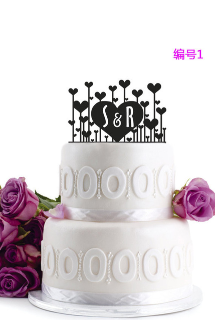 letter s r acrylic cake topper with love heart black wedding cake topper