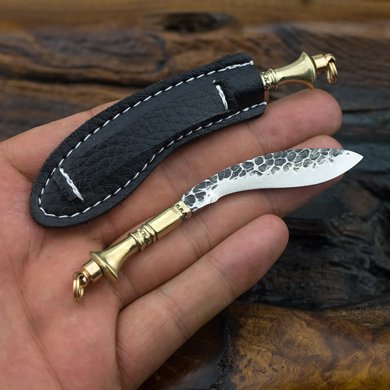 Portable Mini Knife Keychian Small Knife Multifuntion Tools With Leather Coverv Damascus Steel Knife Collector