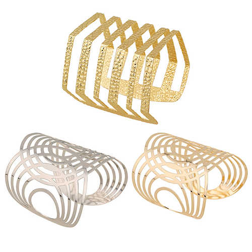 Latest New Hot Fashion Unisex Geometric Hollow Out Gold Silver Bangle Punk Cuff Warped Bracelet  NY79 7DW4