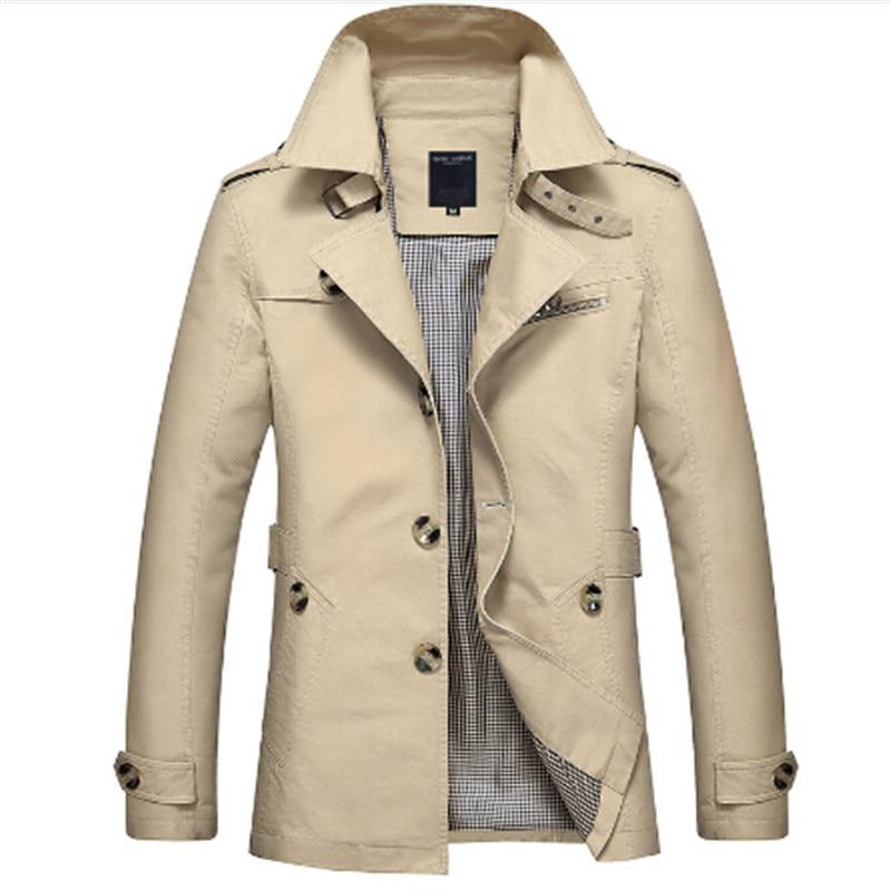 2017 homme Coupe-Vent Pardessus Kaki Noir PLus taille 5XL style britannique Slim fit trench manteau long hommes Nouveau Printemps