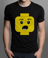 2017 Newest Letter Print Graphic Crew Neck Short Sleeve Style Surprised Expression Lego Head Men S