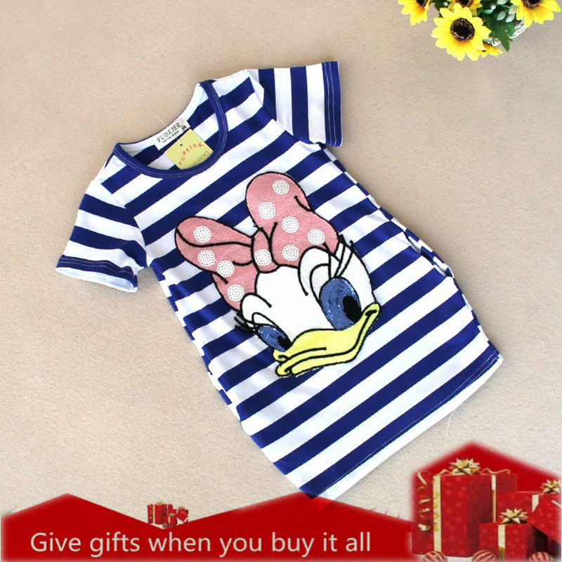 Купить со скидкой Girls Dress Brand Kids Girl Clothes Cartoon stripe Pattern Design Summer Children Clothing Princess