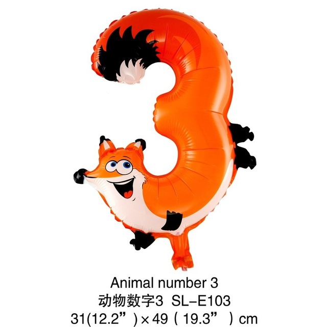 1pc 16inch Animals Number Foil Balloons Digit Helium Ballons Birthday Party Wedding Decor Air Baloons Event Party Supplies DIY