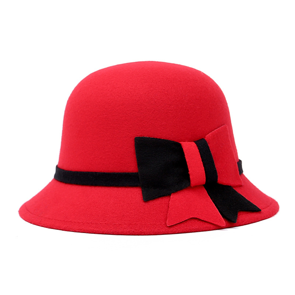 Fedoras Hat for Woman Faux Woolen chapeu fedora Elegant Lady Bowknot Woolen Winter Trilby Church Cloche Black Red Patched