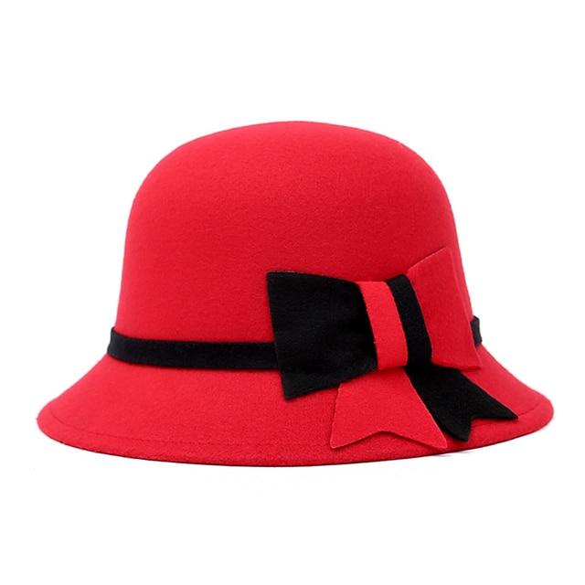 7d1389eab7373 Sombreros de ala del sombrero para mujer Faux lana chapeu Fedora señora  elegante bowknot lana invierno