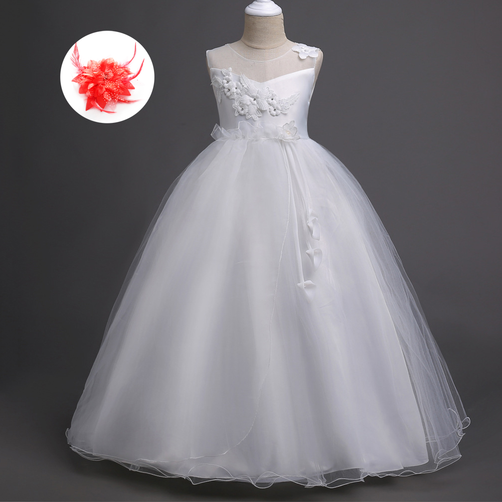 Children Dresses Girls New 2018 Mesh Neck Lace Ribbon Kids First Communion Princess White Flower Girl Long Dress Ball Gown fancy pink little girls dress long flower girl dress kids ball gown with sash first communion dresses for girls