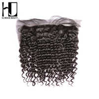 HJ WEAVE BEAUTY Lace Frontal Brazilian Deep Wave Closure Remy Hair 13*4 Swiss Lace 100% Human Hair Free Shipping