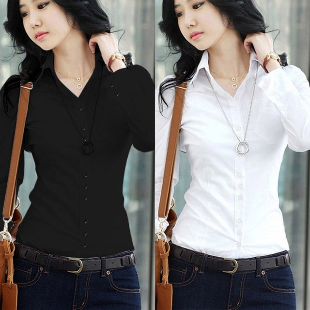 2020 New Fashion Summer Qualities Women's Office Lady Formal Party Long Sleeve Slim Collar Blouse Casual Solid White Shirt Tops 3