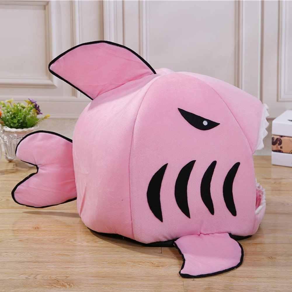 В форме акулы Лежанка для кошек Собака домашняя пещера со съемной подушкой