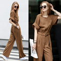 European New Fashion 2016 Spring Autumn Jumpsuits Rompers Solid Color High Waist Loose Casual Overalls Wide Leg Pants For Women