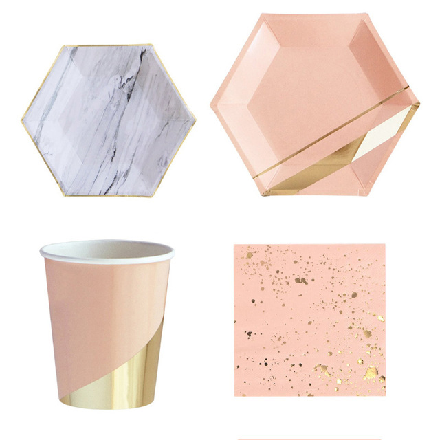 8Pcs Gold Pink Disposable Tableware New Year Party Paper Plates Cups Birthday Party Supplies Plastic Straws Wedding Decoration