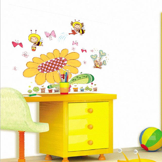 1pcs Cartoon Sunflower Bee Stickers Wall Decals Living Room Baby ...