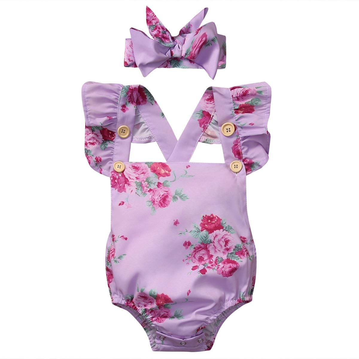 2Pcs sets Newborn Baby Girls Clothes Floral Jumpsuit Bodysuit+Headband Summer Toddler Girls Cotton Sunsuits