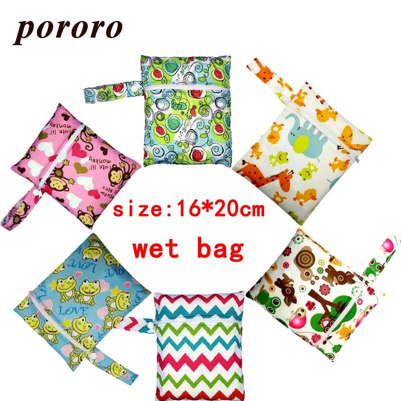 Wholesale Cheap Price Reusable PUL Double Waterproof Wet Bag 16*20cm Mini Wet Diaper Rubbish Bag Bolso Bebe Baby Nappy Wet Bag wet