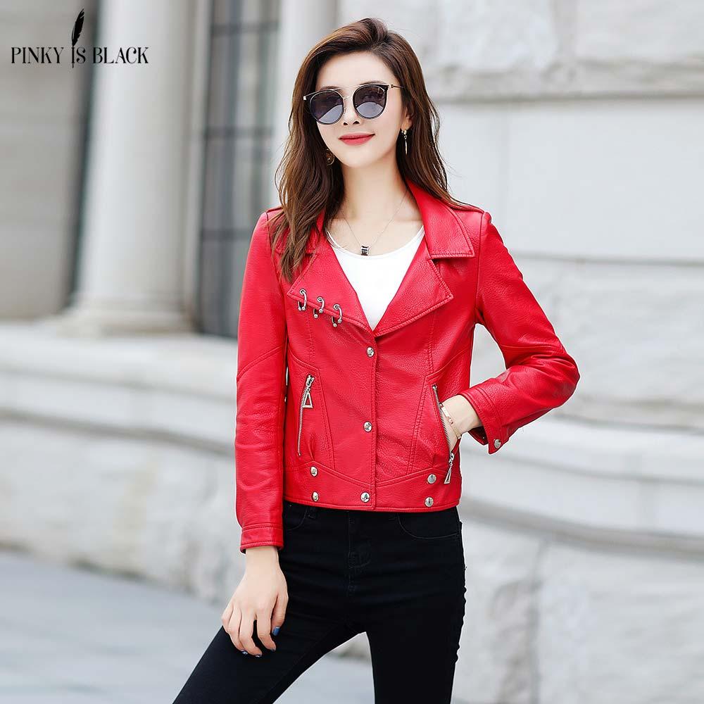PinkyIsBlack 2019 New Fashion Women Autumn Winter Black Faux   Leather   Jackets Zipper Basic Coat Turn-down Collar Biker Jacket