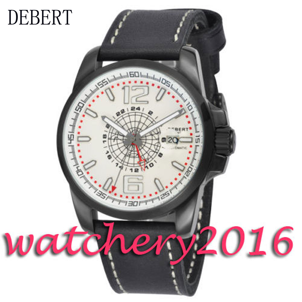 Luxury 44mm Debert white dial GMT date window black PVD case Automatic men's Watch ultra luxury 2 3 5 modes german motor watch winder white color wooden black pu leater inside automatic watch winder