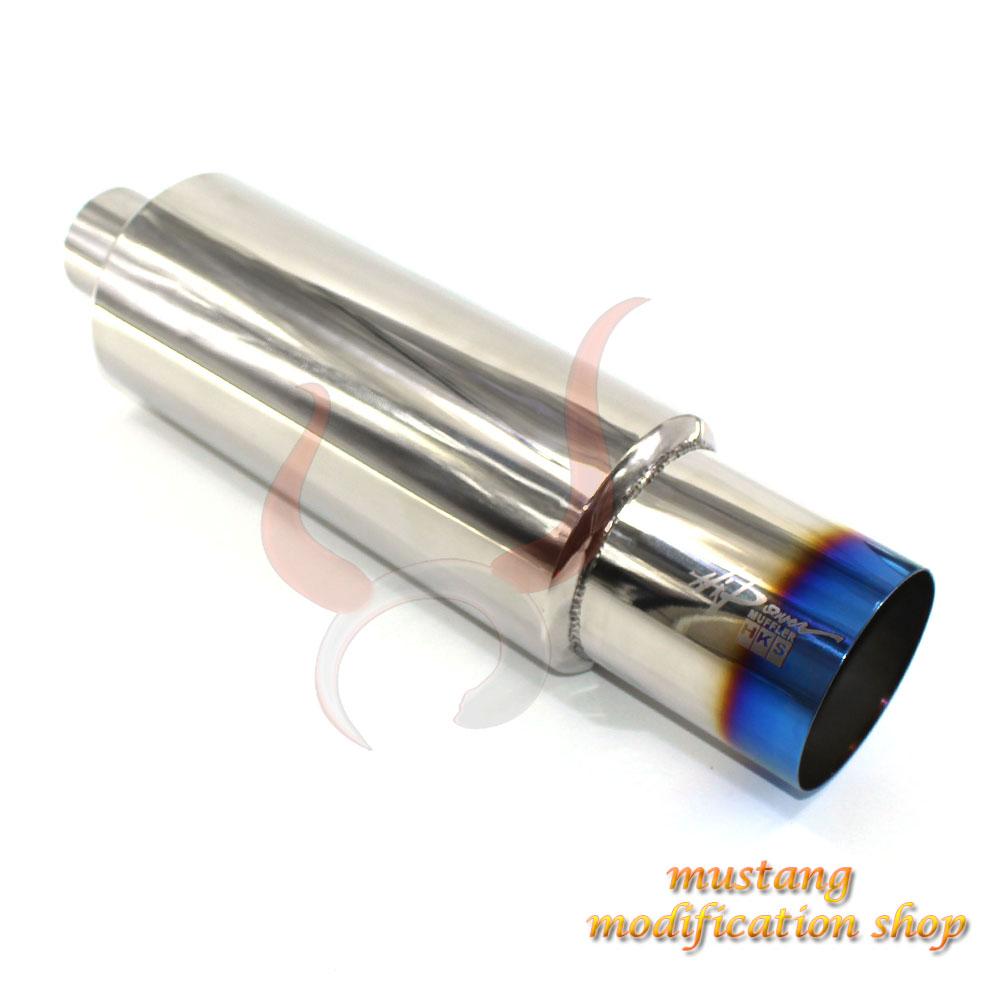 2.5 inch stainless steel 304 universal straight through exhaust car mufflers car silencer exhaust pipe Long 63mm Exit 101mm