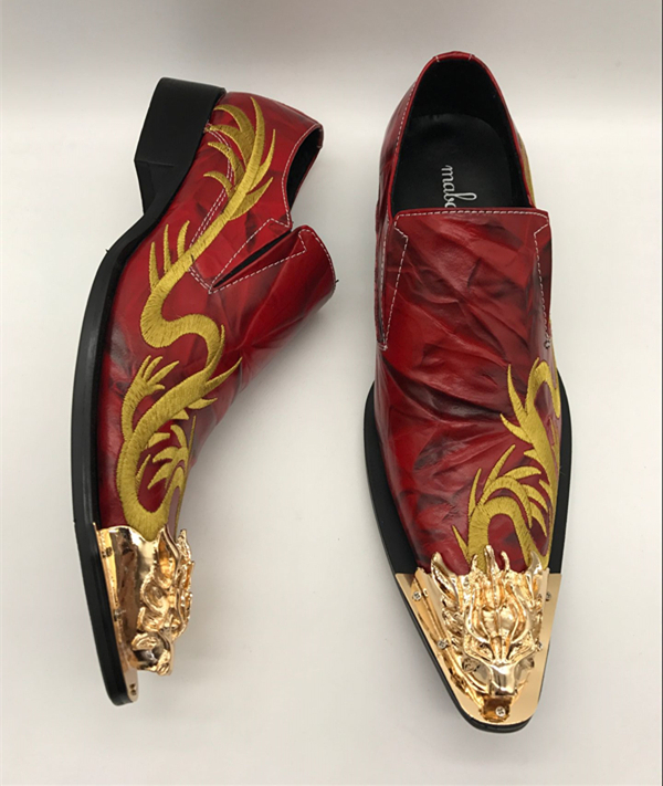 0919728ccf8 Mabaiwan New Red Wedding Shoes Men Oxfords Fashion Gold Dragon Embroidery  Zapatos Hombre Genuine Leather Mens Dress Shoes Flats - aliexpress.com -  imall.com