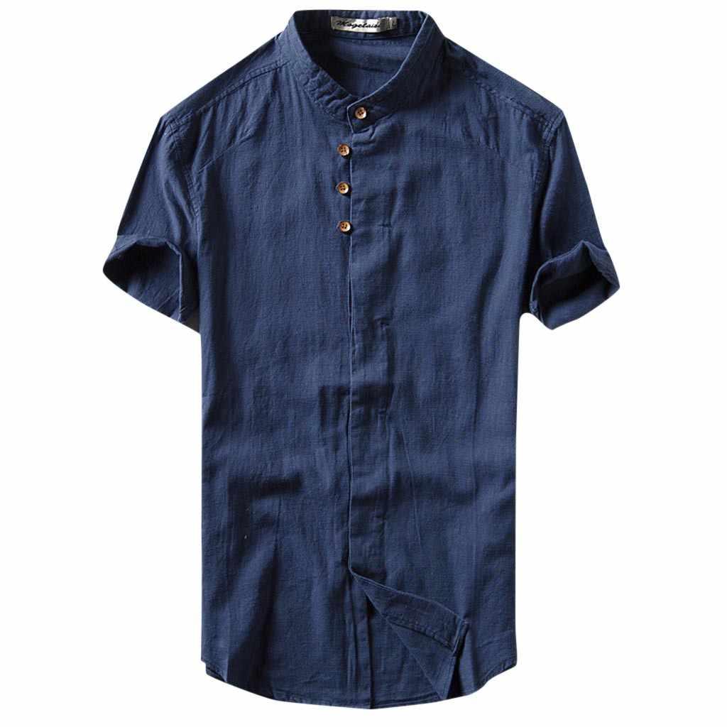 Feitong Nam Nhân Quả Áo Chemise Mùa Hè Slim fit Ngắn Tay Nút Vải Lanh Màu Lỏng Lẻo Áo Hawaii Áo sơ mi camiseta