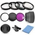 UV CPL FLD Filtro de La Lente y Close Up Macro + 1 + 2 + 4 + 10 Kit de accesorios 49mm 52mm 55mm 58mm 62mm 67mm con una tapa de lente cuerda paño