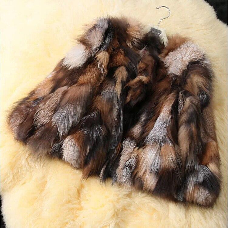 Free shipping Natural Genuine Real Silver Fox Fur Coat for Women Warm Winter FP415 Fox Fur