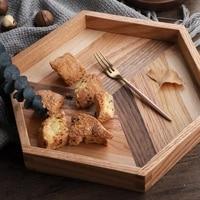 Black Walnut Dinner Plate Wood Serving Plate Pizza Snacks Dessert Tea Tray Eco Friendly Decorative Trays Platters For Coffee W