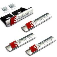 4pcs Set Car Styling Silver S Line Sline Grille Fender Side Back Emblem Decal Badge Sticker