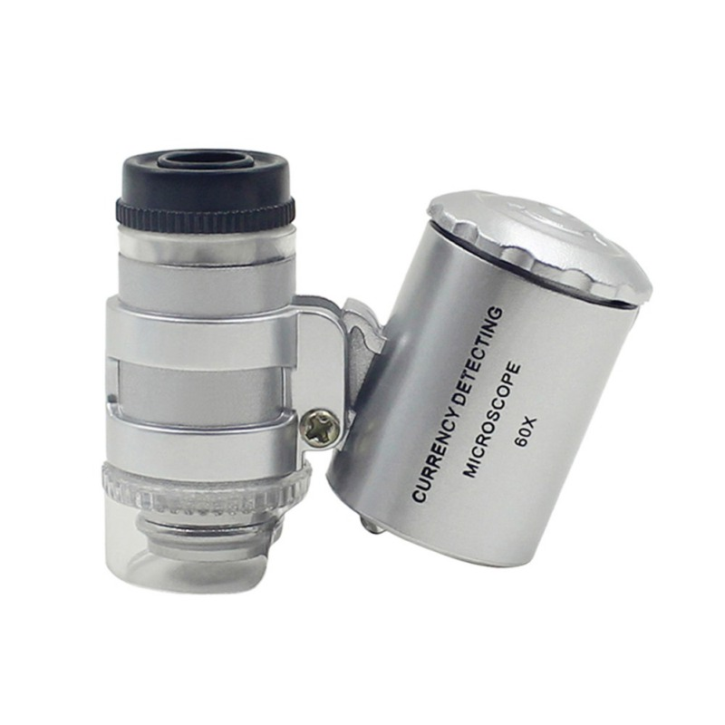 60X Magnifying Glass Handheld Mini Pocket Microscope Loupe Jeweler Magnifier With LED Light 92TV For 2018 pocket 160 200 times magnifying glass microscope led lamp with light source