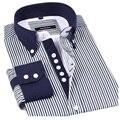 2017 Осень полоса мужской повседневная рубашка марка lightsung длинными рукавами мужской тонкая полоса коммерческий тонкий рубашка