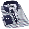 2017 de Otoño de la raya masculina camisa casual marca lightsung raya fina comercial masculina de manga larga delgada camisa de vestir