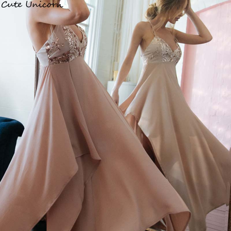 Sparkly Dress 2018 Backless Party sweet Dress Elegant Sexy streetwear Bridesmaid long sequined asymmetrical dress